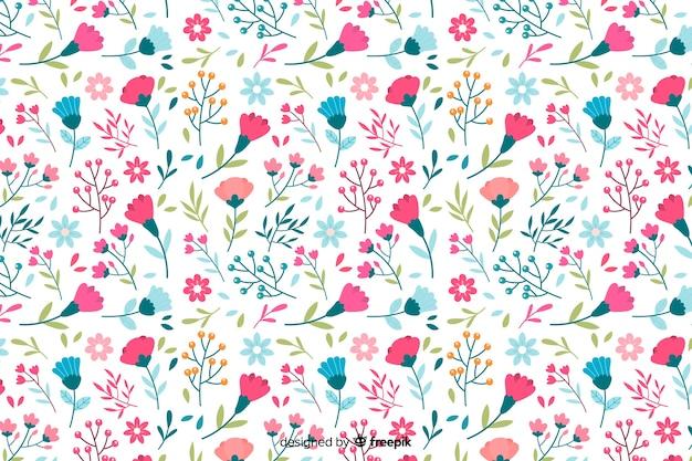 Estilo plano de fundo decorativo de flores coloridas
