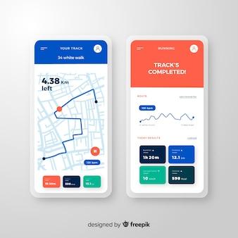 Estilo plano de infográfico de aplicativo móvel em execução