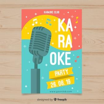 Estilo plano de modelo de cartaz de karaoke