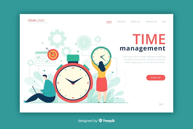 Estilo plano de página de destino de gerenciamento de tempo