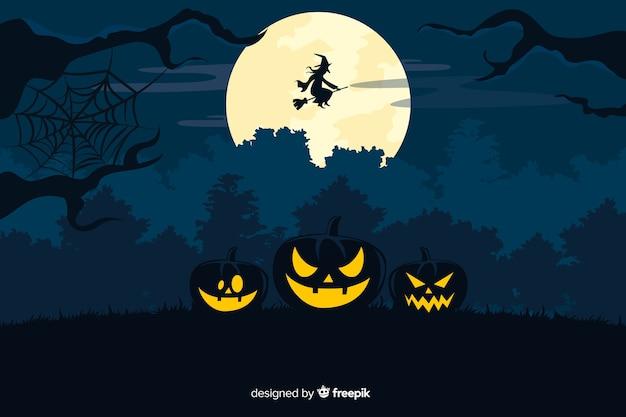 Estilo plano de plano de fundo decorativo halloween