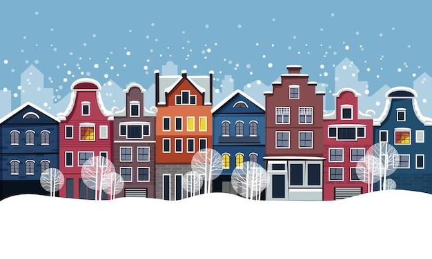 Estilo plano de rua de inverno com casas lindas com neve caindo