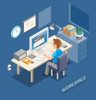 Estilo plano isométrico do espaço de trabalho. executivos que trabalham em uma mesa de escritório.