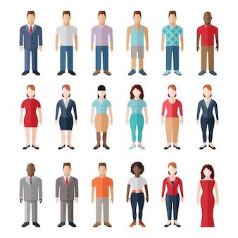 Estilo plano pessoas modernas em roupas casuais, personagens isoladas