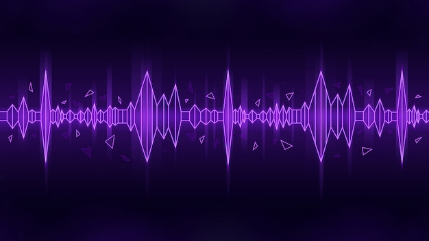 Estilo poligonal da onda sonora no tema roxo em fundo escuro