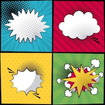 Estilo pop art com listras e texto de diálogo em diferentes formas