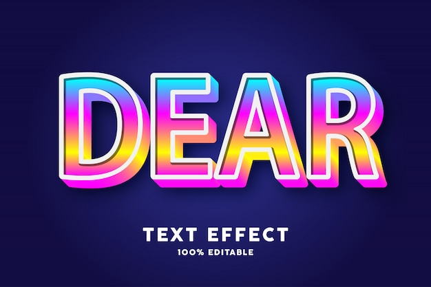 Estilo pop gradiente de texto 3d, efeito de texto