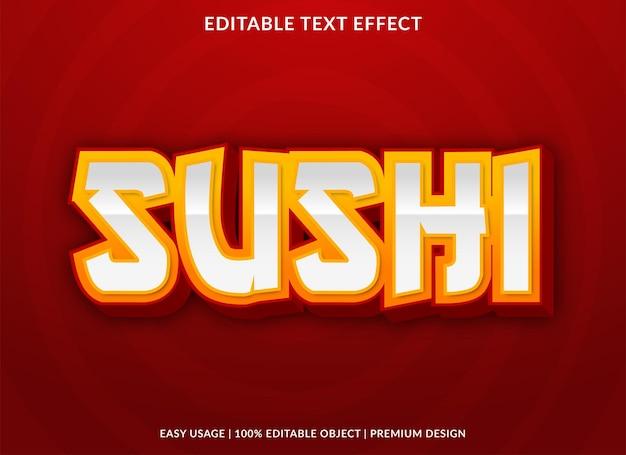 Estilo premium de modelo de efeito de texto de sushi