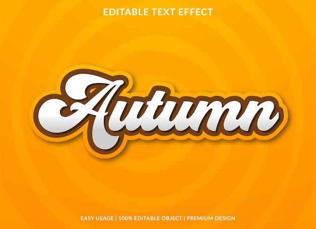 Estilo premium de modelo editável de efeito de texto de outono