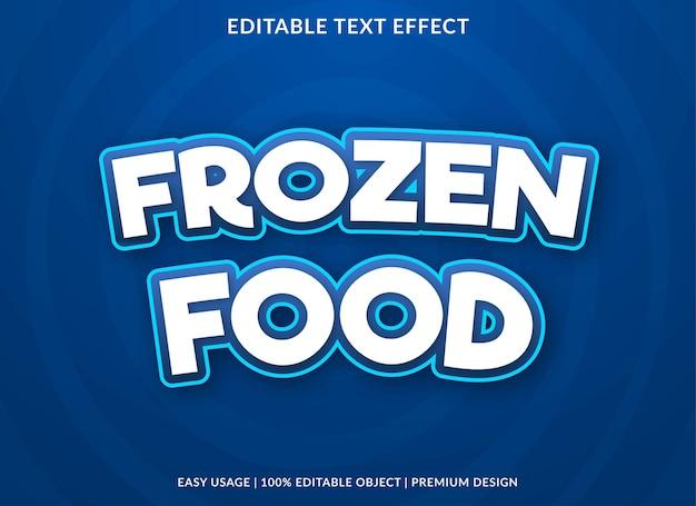 Estilo premium editável de efeito de texto de alimentos congelados