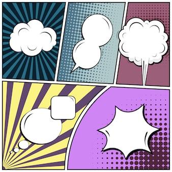 Estilo quadrinhos pop art com bolhas do discurso