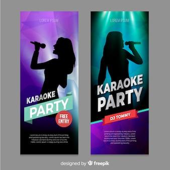 Estilo realista de banner de karaoke modelo