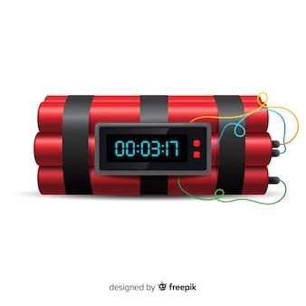 Estilo realista de bomba de dinamite vermelho