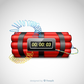 Estilo realista de bomba-relógio vermelho