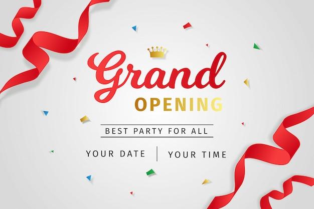 Estilo realista de convite de inauguração