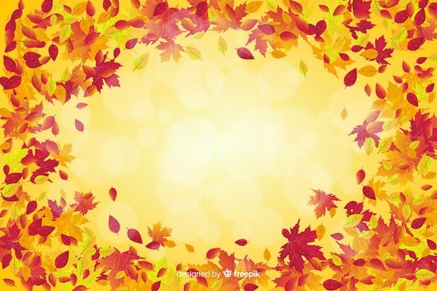 Estilo realista de fundo de folhas de outono