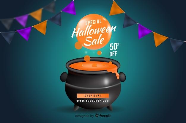 Estilo realista de fundo de vendas de halloween