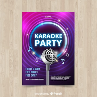 Estilo realista de modelo de cartaz de karaoke