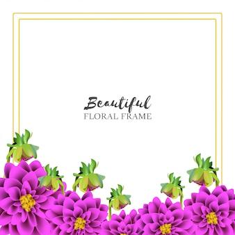Estilo realista de moldura floral linda dália Vetor Premium