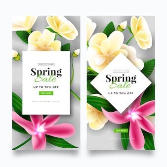 Estilo realista para banner de venda de primavera