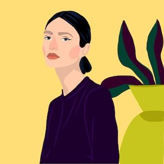 Estilo retrato menina jovens mulheres moda com ilustração vetorial de plantas