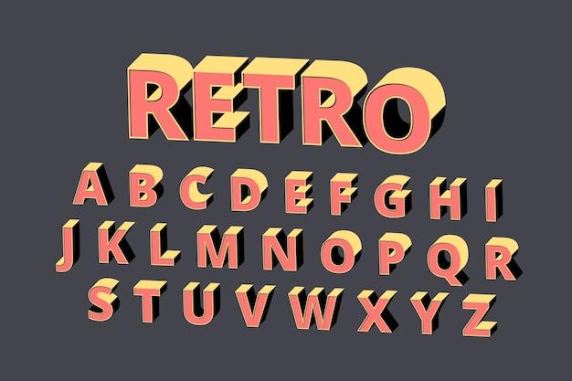 Estilo retrô alfabeto 3d