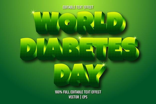 Estilo retro com efeito de texto editável do dia mundial da diabetes