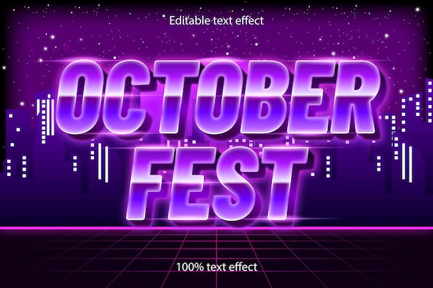 Estilo retro com efeito de texto editável do festival de outubro