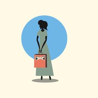 Estilo retrô de bolsa de compras de mulher