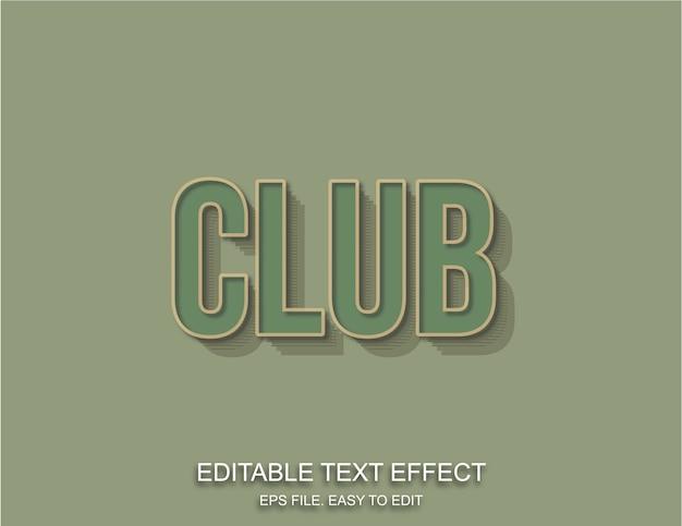 Estilo retrô de efeito de texto vintage club