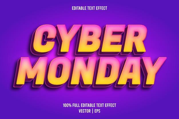 Estilo retro do efeito de texto editável da cyber monday