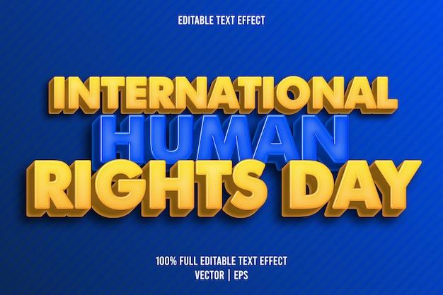 Estilo retro do efeito de texto editável do dia internacional dos direitos humanos