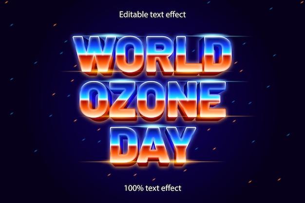 Estilo retro do efeito de texto editável do dia mundial do ozônio