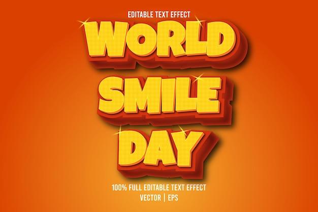 Estilo retro do efeito de texto editável do dia mundial do sorriso