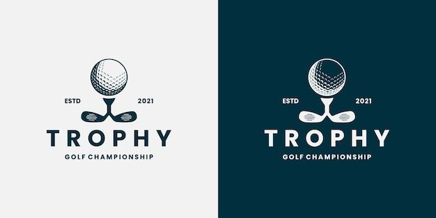 Estilo retro do logotipo do campeonato de golfe do troféu