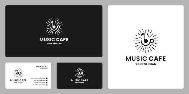 Estilo retro do projeto do logotipo do café de música. combinar música com caneca de café