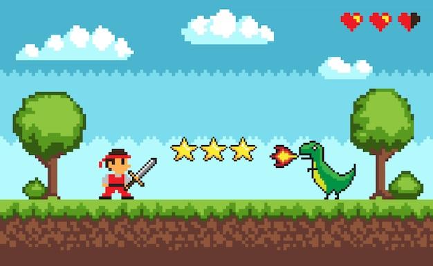 Estilo retrô em pixel do arcade game mode
