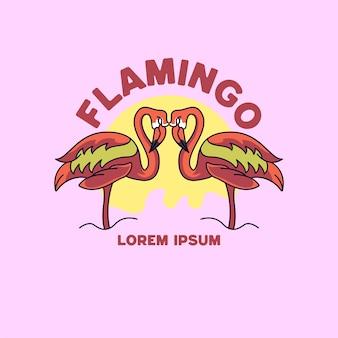 Estilo retro vintage da ilustração do flamingo para camisas