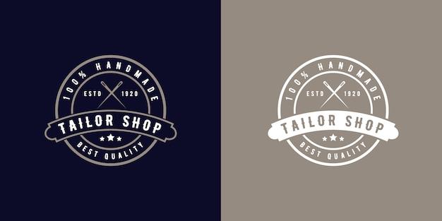 Estilo retro vintage distintivo de logotipo monograma para ateliê de alfaiate ou loja de costura feita à mão estilo retro vintage distintivo redondo de logotipo para ateliê de alfaiate ou loja de costura artesanal