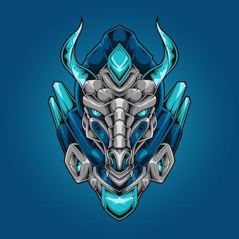 Estilo robótico mecha cabeça de dragão