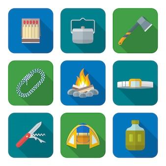 Estilo simples colorido várias coleções de ícones de camping