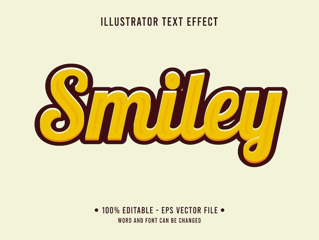 Estilo simples com efeito de texto editável em smiley com cor amarela
