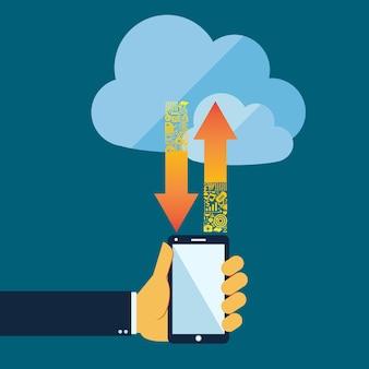Estilo simples conceito de computação em nuvem com o telefone móvel