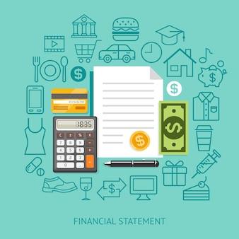 Estilo simples conceitual de demonstração financeira.