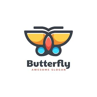 Estilo simples da mascote da borboleta da ilustração do logotipo do vetor