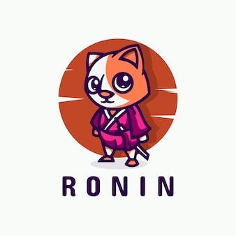 Estilo simples da mascote da ilustração do logotipo do gato.