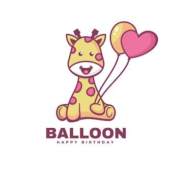 Estilo simples da mascote do balão da ilustração do logotipo.