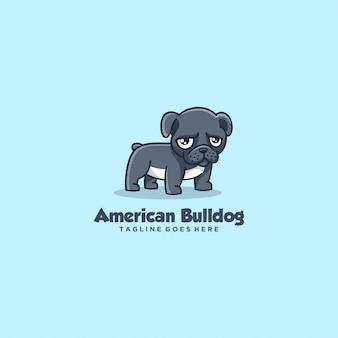 Estilo simples da mascote do buldogue da ilustração do logotipo.