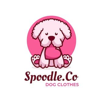 Estilo simples da mascote do cão da ilustração do logotipo.