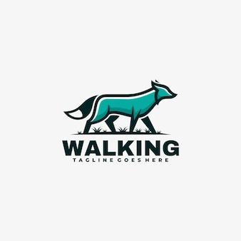 Estilo simples da mascote do lobo da ilustração do logotipo.